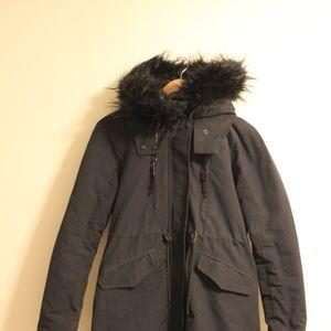 Black Zara Parka Detachable Fur Hood XS